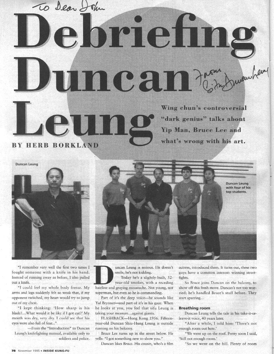 Inside Kung Fu 11/1995 page 1